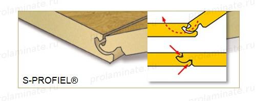 Замковое соединение ламината по типу S-профиль