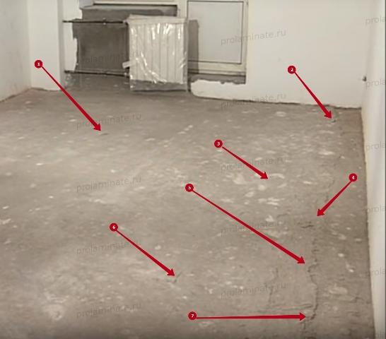 Неровности бетонного пола